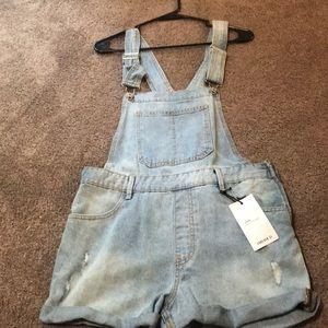 Light denim overalls (short)